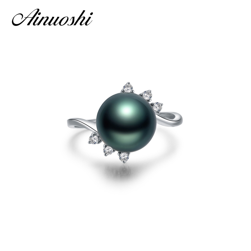 AINUOSHI Custom Jewelry 10mm Black Tahitian Cultured Pearl Ring 925 Sterling Silver Round Pearl Ring Twisted Silver Ring