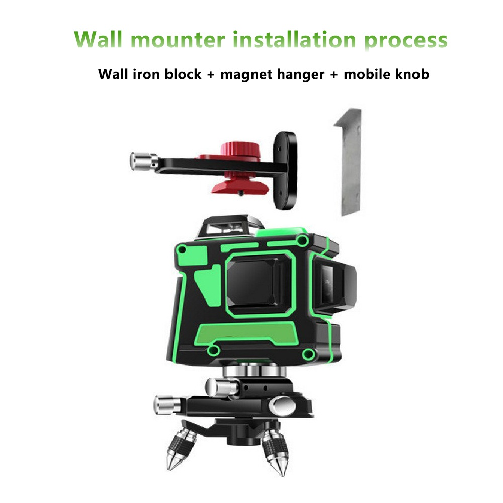 3D 12 Lines Green Laser Level with Wall Bracket 360 Adjust Base Laser Beam Line Horizontal