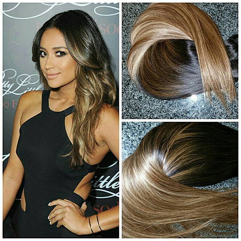 Full Shine Balayage Extensions Ombre Double Weft Clip in Human Hair Extensions Virgin Hair Mink Straight
