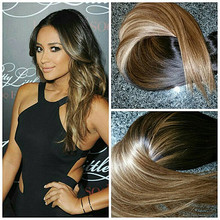 Full Shine Balayage Extensions Ombre Double Weft Clip in Human Hair Extensions Virgin Hair Mink Straight Hair Color #1B#6#18