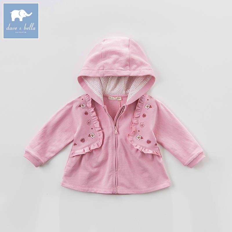 DBA6569 dave bella spring infant baby girls hooded coate kids print outerwear toddler children high quality lovely clothes