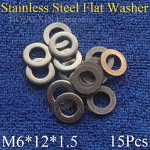 15Pcs Large M6*12*1.5mm Stainless Steel Flat Washer Price High Quality Pad Plain Ring