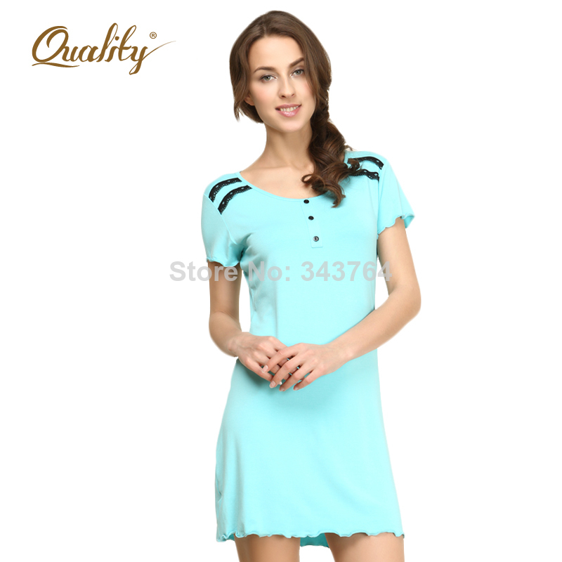f96d7e8432 Qianxiu Hot Sale New Fashion Modal Knee Length Women One piece Dress Sexy  Lace Pure color Leisurewear Nightgown house home wear-in Dresses from  Women's ...