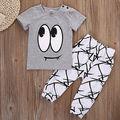 Lindo 2 UNIDS Newborn Kids Baby Boy Camiseta Tops + Pantalones Largos Trajes Set Chándal