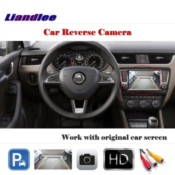 Liandlee Auto Reverse Parking Camera For Skoda Superb Sedan 2013~2016 / Rear Rearview Back Work with Car Factory Screen