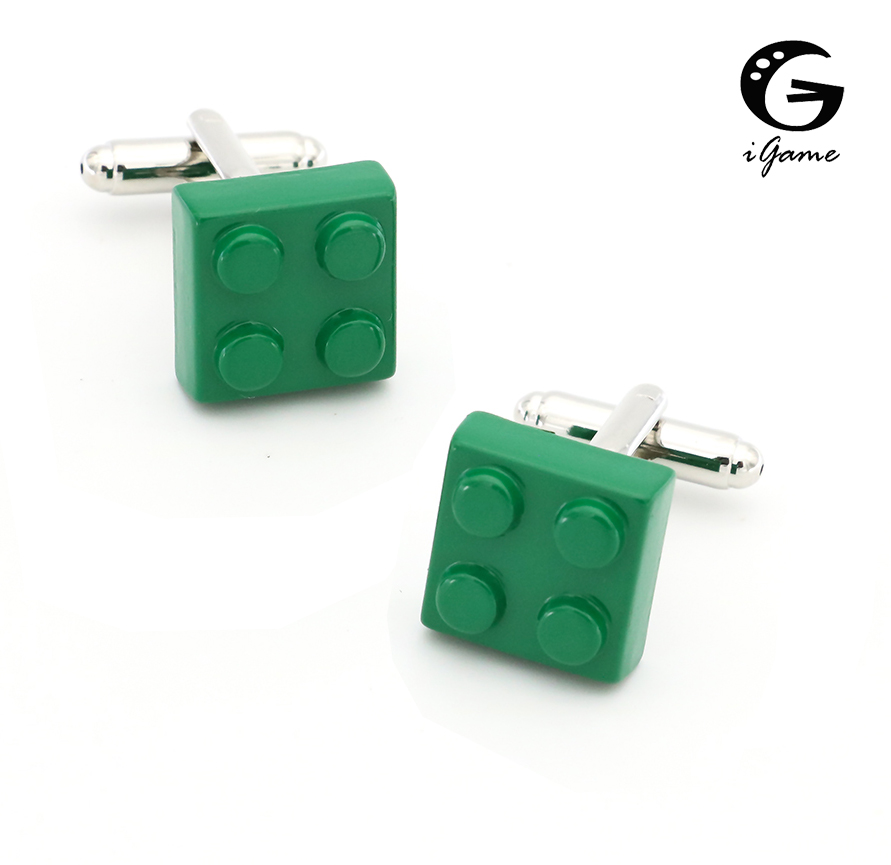 IGame Men's Fashion Cuff Links Brass Material Green Toy Blocks Cufflinks Free Shipping