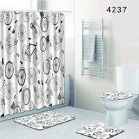 HomeMiYN New Bath Mat Bicycle White 4pcs Bathroom Floor Decorative Bath Mats Rugs Anti Slip 12 Hooks Shower Curtain Waterproof