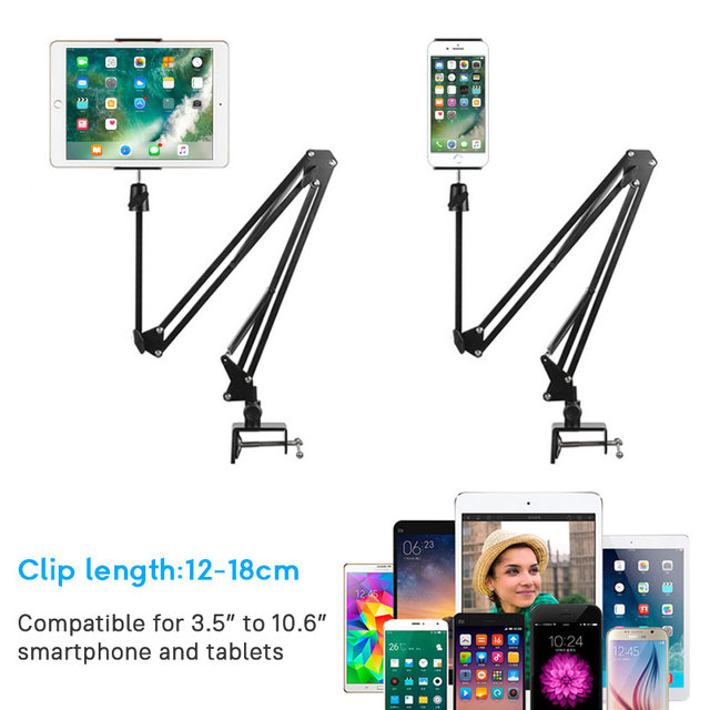 Flexible Long Arm Mobile phone tablet stand holder For iPad Mini Air iPhone Xiaomi Huawei Lazy Bed Desktop Clip Metal Bracket 1