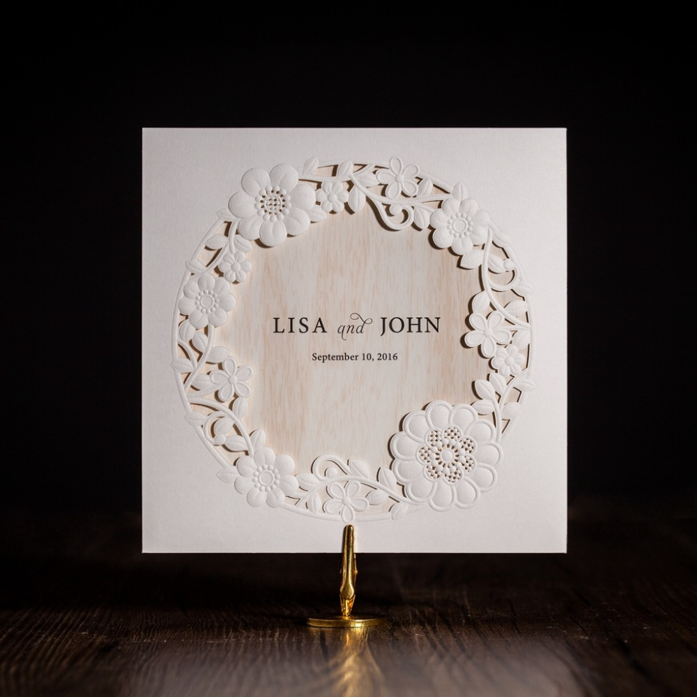 cw5175 white royal wedding invitation card greeting card with laser cut and ribbon