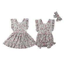 Sister Matching Floral Romper Dress Toddler Kids Baby Girl Sleeveless Flare Clothes Backless Belt Sets