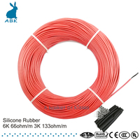 100meters 133 ohm 66 ohm Silicone rubber carbon fiber heating cable heating wire DIY special heating cable for heating supplies