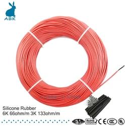 133 м 100 Ом 66 Ом силиконовая резина углеродное волокно нагревательный кабель нагревательный провод DIY специальный нагревательный кабель для ...