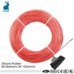 133 metros 100 ohm 66 ohm silicona goma fibra de carbono cable de calefacción DIY cable de calefacción especial para suministros de calefacción