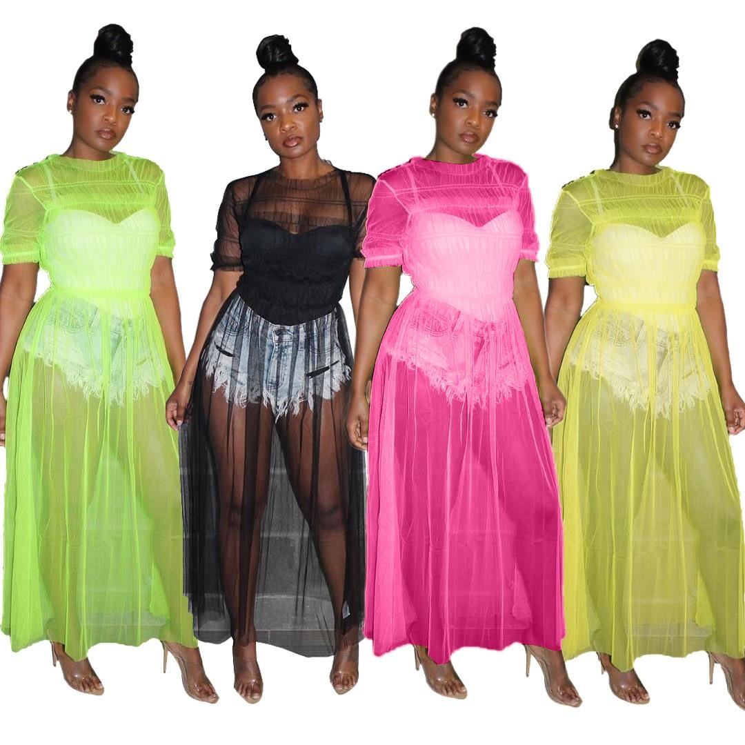 2020 Women New Mesh See Well O-neck Short Sleeve Splice Fit & Flare Maxi Dress Beach Cape Long Gauze Dresses 3 Color AJ4064