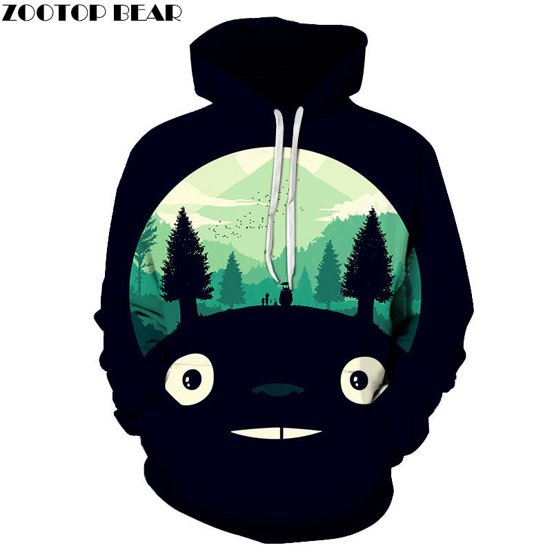 Anime hoodies 3d totoro impresso hoodies hombres sudadas moda pulôver casual chndales marca navio da gota zootop oso