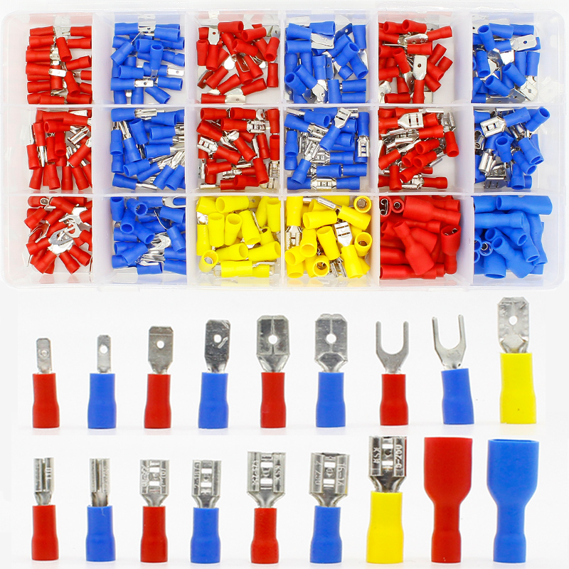 Free Shipping 360pcs Assorted Full Insulated Fork U-type Set Terminals Connectors Assortment Kit Electrical Crimp Spade Ring 2018 0402 smd chip capacitors assorted kit 0 5pf 1uf 94valuesx50pcs 4700pcs capacitor sample book assortment kit on sale