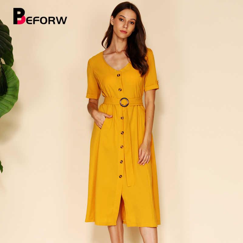 BEFORW 2019 Mulheres Verão Vestido Da Listra de Manga Curta Streetwear Sexy V Neck Botão Caixilhos Midi Vestidos de Amarelo Vestido de Férias Casuais