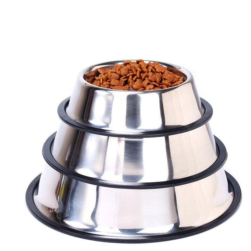 New Dog Cat Bowls Stainless Steel Travel Footprint Feeding Feeder Water Bowl For Pet Dog Cats Puppy Outdoor Food Dish 3 Sizes 5