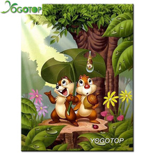 YOGOTOP 5D Diamond Painting Cross Stitch Cartoon chipmunk Embroidery Square Diy Mosaic Home Decoration ZB935