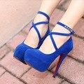 Fashion 2016 Brand Women Pumps Suede Ankle Strap Women High Heels Platform Sexy Ladies Party Wedding Bridal Shoes