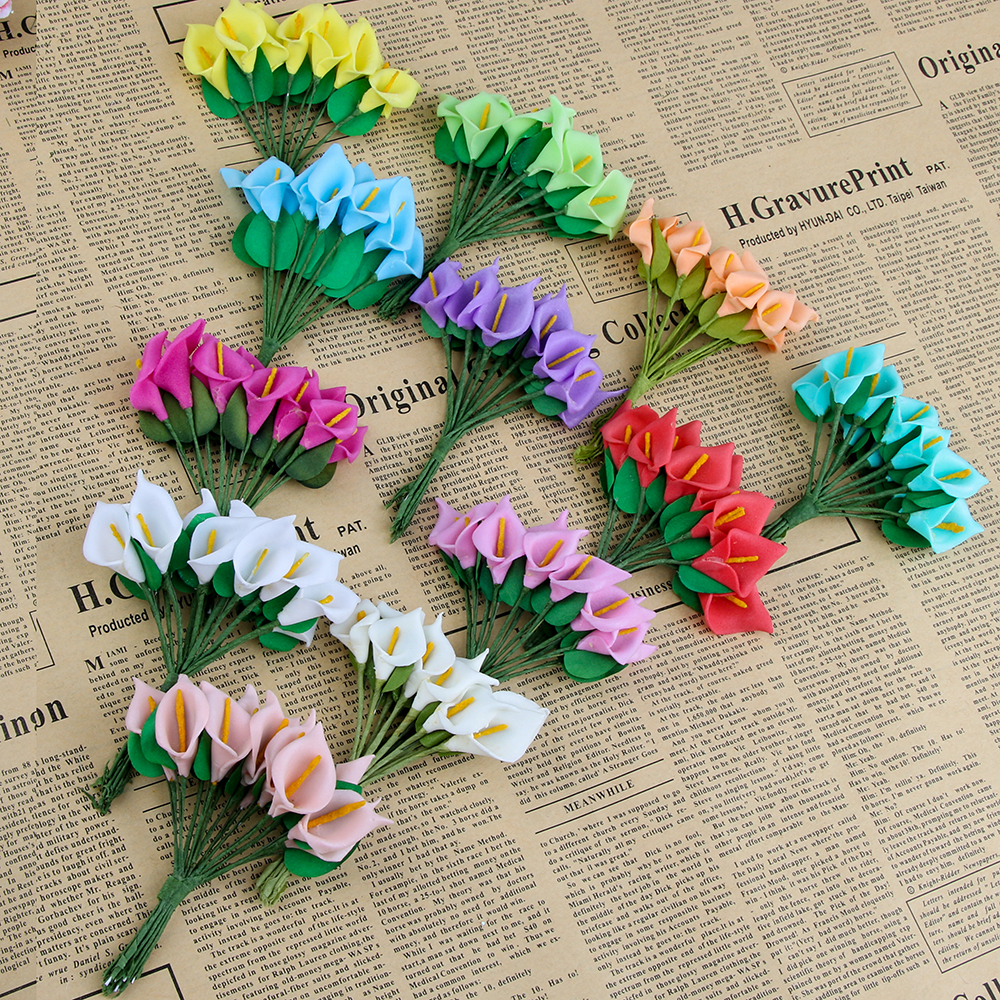 12 шт. мини пена Калла ручной искусственный цветок свадебное оформление букета DIY ВЕНОК Подарочная коробка Скрапбукинг Ремесло поддельные цветок