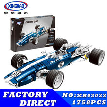 XINGBAO 03022 03023 Genuine The Blue Racing Car Set Building Blocks Bricks Educational Funny Toys As New Year Gifts For Kids(China)