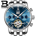 BINGER Men Full Steel WatchWrist Fashion Blue Dial Original Luxury Top Brand Clock Automatic Mechanical Watch relogio masculino