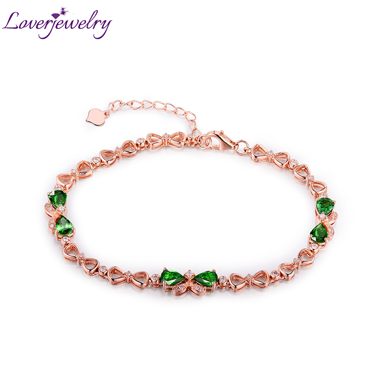 Loverjewelry Women Bracelet 18Kt Rose Gold Diamond Tsavorite Gemstone Pear Cut 4x5mm Fine Bracelet JewelryLoverjewelry Women Bracelet 18Kt Rose Gold Diamond Tsavorite Gemstone Pear Cut 4x5mm Fine Bracelet Jewelry