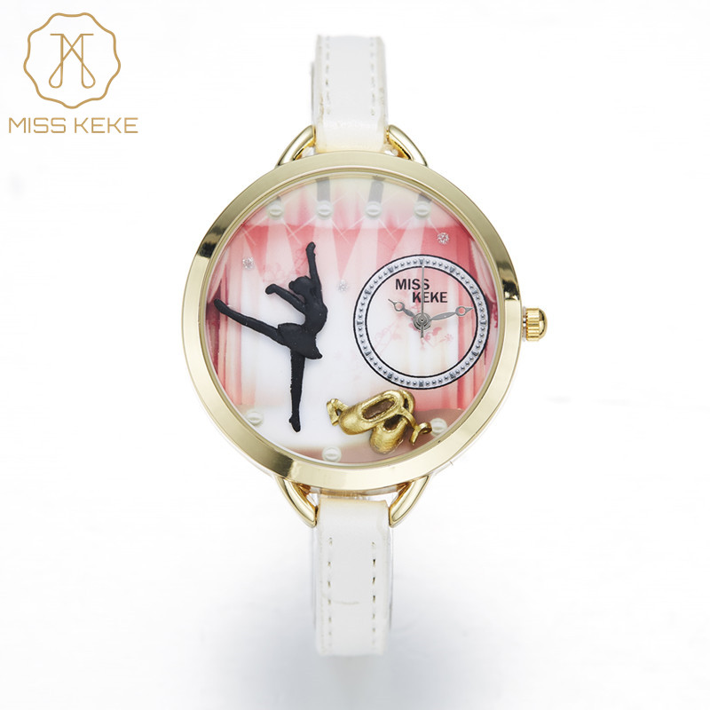 Miss Keke New 3d Clay Cute Mini World Ballet Gir Women Watches Relogio Feminino Ladies Fashion Leather Wristwatches 1033