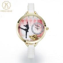 Miss keke nouveau 3d argile mignon mini monde ballet rif femmes montres relogio feminino dames montres-bracelets en cuir de mode 1033