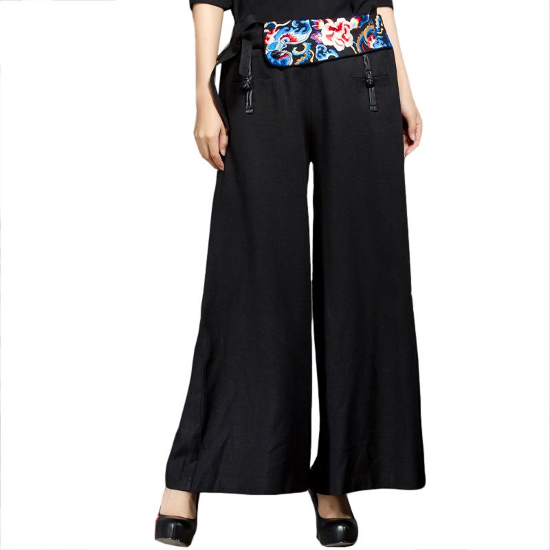 Women Black Chinese Style   Wide     Leg     Pants   Embroidery Button Straight Trousers Flower Autumn Cotton Linen Long   Pant   L-XXL