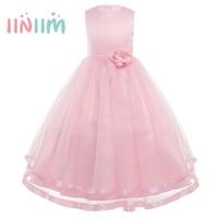 Iiniim Ragazze Maxi Vestito Elegante Senza Maniche in Tulle A Strati 3D Fiore Principessa Abito Da Sposa Vestidos Partito Tutu Dress Costume