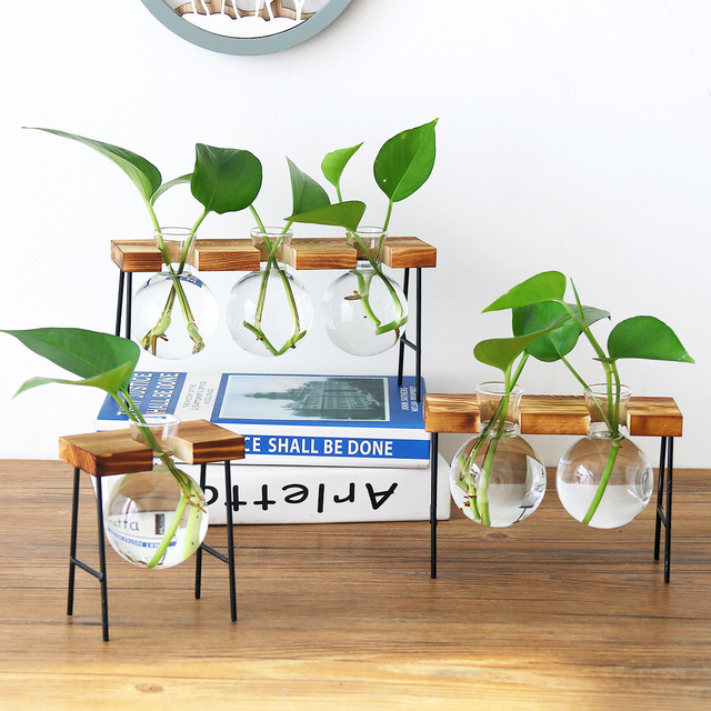 New Vintage Glass Tabletop Plants Bonsai Flower Wedding Home Decorative Vase Wooden Base Craft Tray Hydroponic