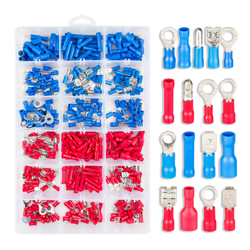 330pcs Assorted Female/ Male Insulated Terminals Electrical Crimp Connector Spade Ring Set with Storage Box 1000pcs electrical wire connector insulated crimp terminals kit spade assorted set fork ring assorted set with box