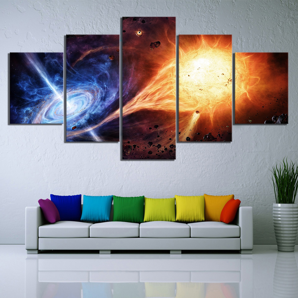 5 Piece Outer Space Fantasy Art HD Picture Black Hole Poster Decorative Paintings Canvas Art for Home Decor Wall Art 1