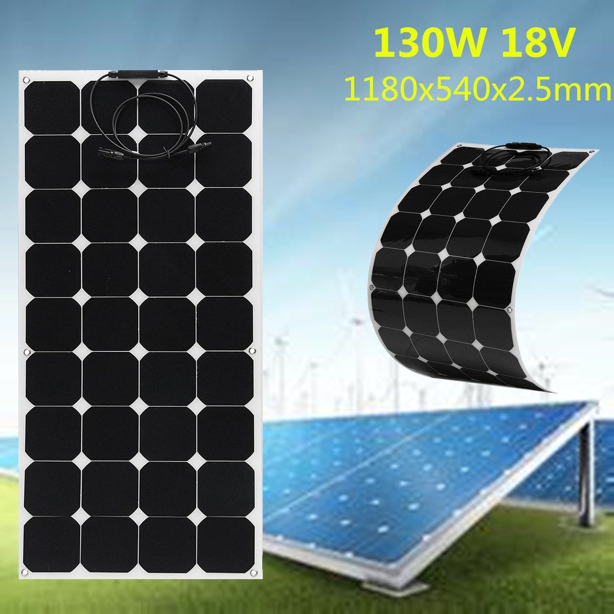SP-35 130W 18V Semi Flexible Monocrystalline Solar Panel Waterproof High Conversion Efficiency For RV Boat Car + 1.5m Cable