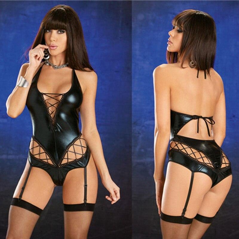 Sexy Wetlook Faux Leather Bandage Bodysuit Women Fetish PVC Hollow Body Suit Teddy Lingerie Hot Erotic Latex Catsuit Clubwear