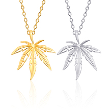 цена на 2019 New Maple Leaf Necklace Gold Silver Street Hip Hop Plant Leaf Pendant Necklace Men And Women Wild Trend Jewelry Gift