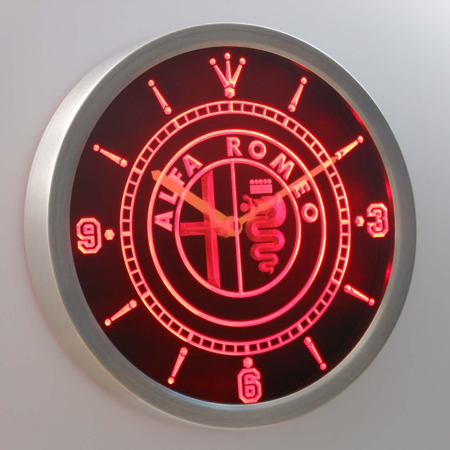 nc0172 Alfa Romeo Neon Light Signs LED Wall Clock