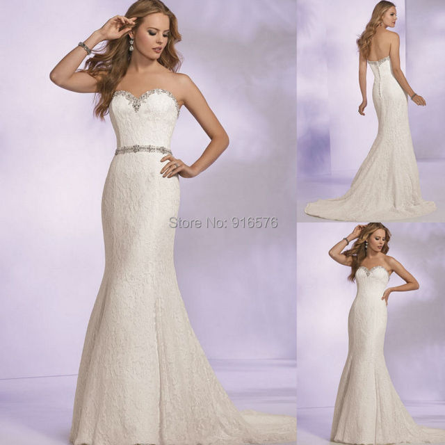 Refined Lace Wedding Gown Sweetheart Neckline with beaded Perfect Fitting  Shape Bride Dresses With Beaded Belt Chapel Train af798a66d18d