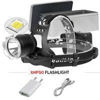 Power Bank headlight xhp50 super bright head lamp 18650 spotlight hunting lantern usb led lamp head torch xhp50 waterproof camp