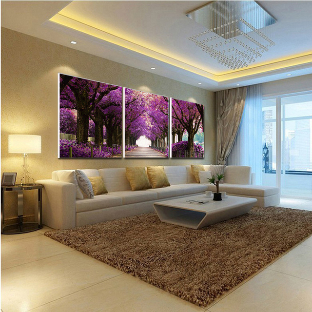 Canvas Paintings PICTURES On Canvas For Living Room Landscape Decorative  Print Romantic Purple Forest No Frame