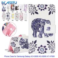 IKASEFU Phone Case Cover for Coque Samsung Galaxy A3 A5 A7 2015 Shell Wallet Leather Protective Flip Cover Silcone Case A3 A5 A7