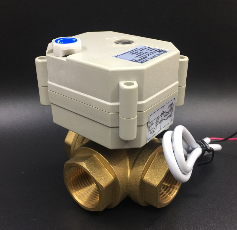 TF20 BH3 B DC12V or DC24V 2/3/5/7 Wires Brass 3/4'' (DN20) 3 Way T/L Type Horizontal Electric Valve With Manual Overiide-in Valve from Home Improvement    3