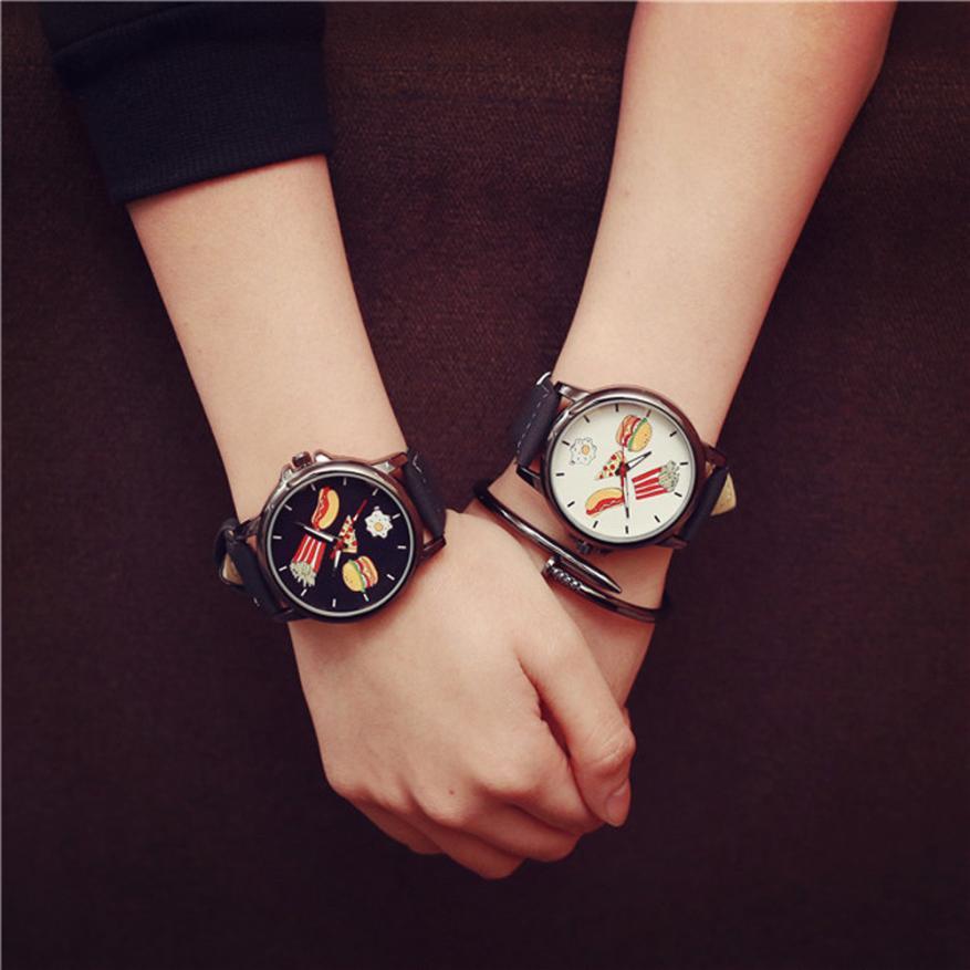 New Fashion Lovers Watches Women Men Funny Printed Quartz Wrist Watch Mens Women's Dress Clock Watch Couple Gifts Relogio #JO