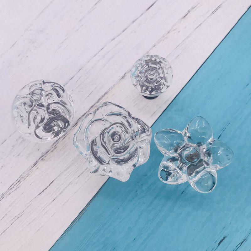 1x Furniture Crystal Glass Knobs Acrylic Flower Drawer