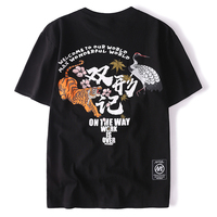 HISTREX Japanese Harajuku Tiger Crane 100% Cotton Casual Streetwear Men T Shirt Mens Homme Plus Size High Quality Brand 2572I#