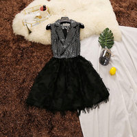 2018 summer new female notched collar dot sequined feather tassels chiffon ball gown dresses women's vintage puff dress