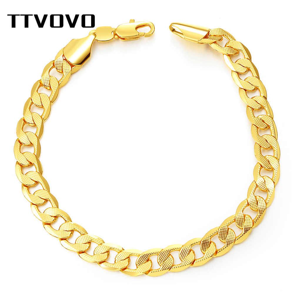 TTVOVO bransoletka Big Chunky 7MM 21CM Curb kubański Link łańcuch węża ręcznie bransoletka złoty kolor mężczyźni prezenty Rock hip Hop biżuteria bransoletki