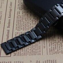 22 мм черный тяжелый нержавеющая сталь ремешок для часов ремешок ссылки браслеты новинка аксессуары полированный ремешки